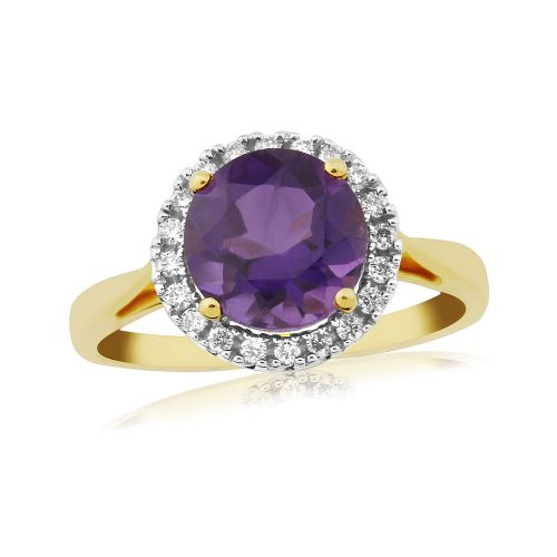 Large Round Amethyst And Diamond Gold Cluster Ring